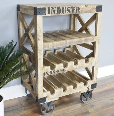 Industrial Vintage Style Solid Wooden Wine Rack Trolley Home Decor