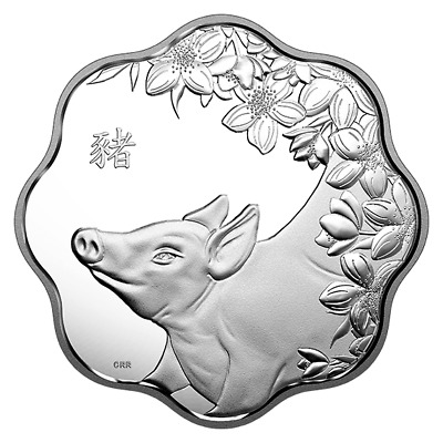 Year Of The Pig – 2019 $15 Fine Silver Lotus Coin Royal Canadian Mint Rcm Canada