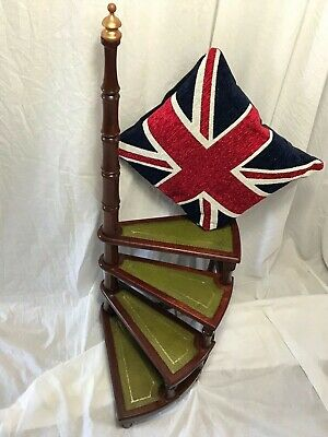 Antique Regency Style Mahogany Library Spiral 4 Steps Ladder Stand Xmas Treat