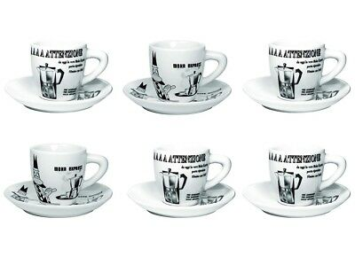 NEW Bialetti Espresso Cups and Saucers Set of Six (6) White / Black Starbucks