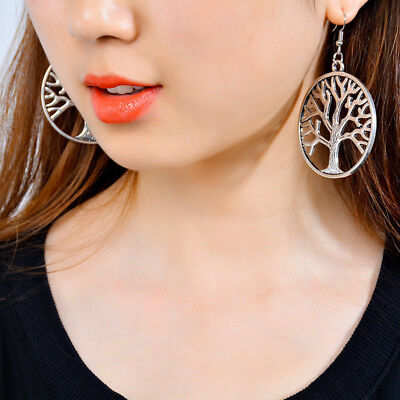 Pair of big antique silver pagan dangle earrings tree of life circle round charm