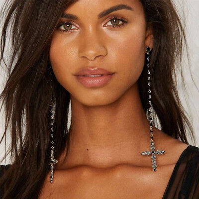 Pair of extra long length antique silver & black bead earrings with cross charms