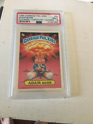 1985 Garbage Pail Kids Stickers Checklist #8a Adam Bomb Glossy PSA 9 MINT