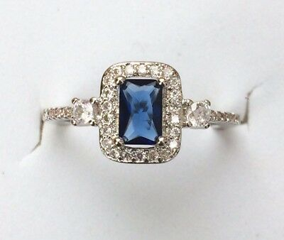 Sterling Silver Art Deco Vintage Blue White Sapphire Cushion Ring P AD194