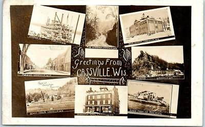 CASSVILLE Wisconsin RPPC Real Photo Postcard Multi-View Brewery Steamer Main St.