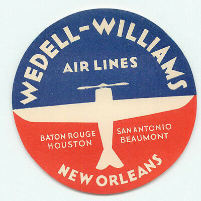 New Orleans Wedell Williams Airlines Old Aviation Luggage Label