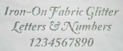 Iron-On Glitter Letters & Numbers Elegant font-SILVER + FREE Rhinestones 19-50mm