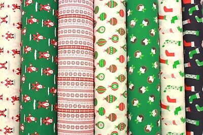 "Premium Printed PolyCotton, 7 Christmas Designs, High Quality,  44"" Wide"