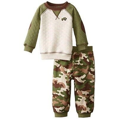 Little Me Toddler Boys' 2 Piece Fleece Camo Quilted Pant Set -  GREEN  - 4T