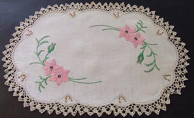 Pretty Linen Hand Embroidered Table Centre - Pink Clematis - Crocheted Edging