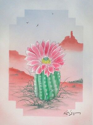 UK/_ MODERN CACTUS OIL PAINTING CANVAS WALL POSTER PICTURE ART HOME DECOR SUPREME