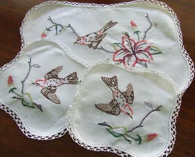 Hand Embroidered Vintage Duchess Set - Swallows & Hibiscus Flowers Crochet Edges
