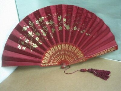 Antique Hand Painted Fan in wood and silk in red