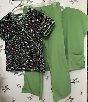 Cherokee Scrubs Lot, Two Tops (XS,S) One Pant (S Petite) Set Green And Vibrant!