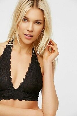 6588bbd534475 NEW Free People Black Galloon Lace Halter Bra Small