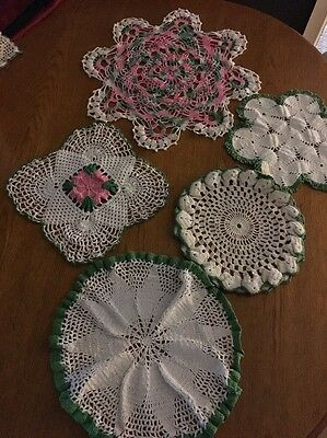 Reduced....vintage doilies Beautiful Lot Of 5 Pink, Green  And White  9-14 In.