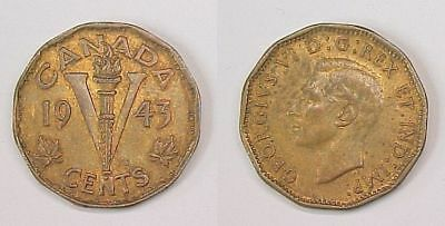 1943 Canadian Nickel Canada Five Cents Tombac AU Almost Uncirculated