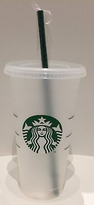 STARBUCKS Reusable Frosted Plastic VENTI Cold Cup With Reusable Green Straw NEW!
