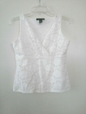 aa99aa27b1 INC White Eyelet Tank Top Shirt Sleeveless Cotton Blend Empire Shell Womens  Sz S