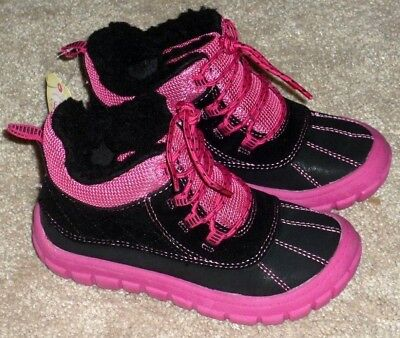 GIRLS TODDLER SIZE 10 PINK & BLACK WINTER FUR BOOTS by Faded Glory - BRAND NEW