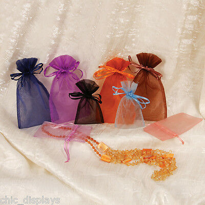 """Lot Of 12 Set Assorted Jewelry Pouches Ex.large Organza Pouches 5""""x8"""" Bags"""