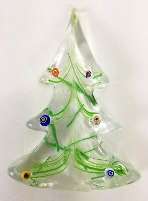 Saks Fifth Ave Murano Glass Paperweight Hand Painted Christmas Tree