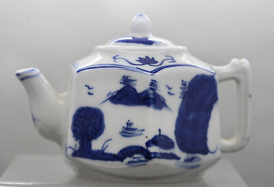Beautiful Vintage Chinese Hand Painted Porcelain Blue & White Teapot