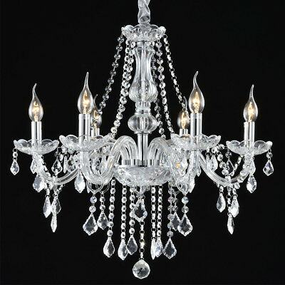 """Crystal Candle Chandelier Lighting 6 Lights Pendant Ceiling Fixture Lamp 22""""x33"""""""