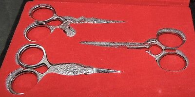 """Set 3 Quality Embroidery Scissors 3½"""" Silver Tone Novelty Handles Precision Tool"""