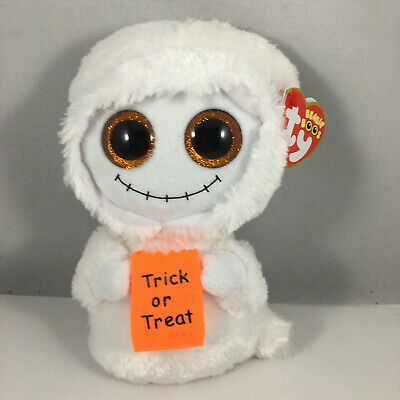 "TY Halloween Beanie Baby Boos 6"" MIST White Ghost Animal Plush MWMT's RETIRED"