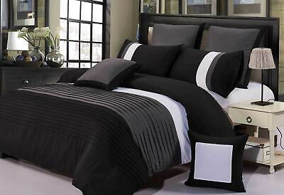 Aleah Black Grey White Quilt Cover Set QUEEN / SUPER KING Size Doona Cover Set