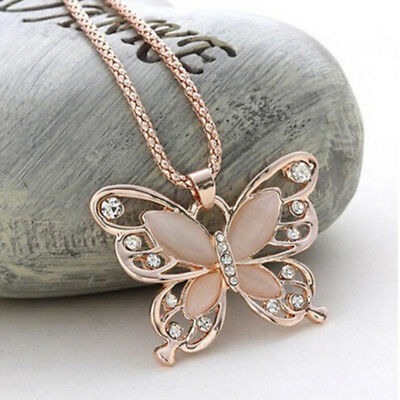 Trendy Rose Gold Opal Butterfly Pendant Necklace Sweater Chain Long Necklace 8C