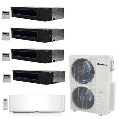 Klimaire 5-Zone 52K BTU 20 Seer 12K Wall 12-12-12-12K Ducted AC Mini Split Heat