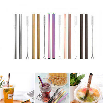 2X Stainless Steel Metal Drinking Straw Straight 1 Brush Durable Washable Party