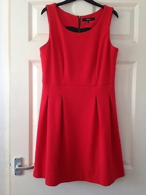 Next Red Coral Textured Smart Retro Skater A-line Vintage Style Dress 14