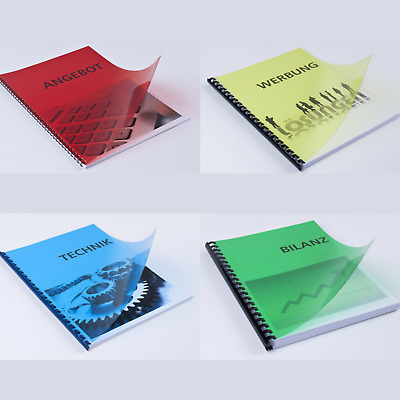 100 x Coloured Clear Transparent Binding Covers. Report Office Acetate Sheets