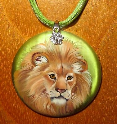 MALE LION pendant Genuine RUSSIAN hand painted Natural STONE signed Gorbachova