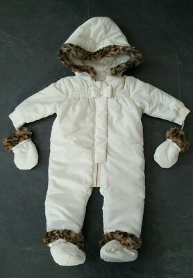 BNWT Girls Juicy Couture snowsuit/ All in one coat 6-9 Months Leopard print fur
