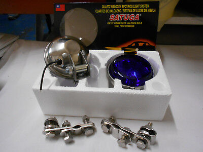 "Mod Scooter Halogen SpotLight Pair in Blue Stainless Steel Rear 3.5/"" lens"