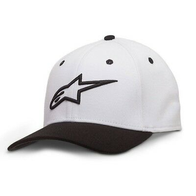 New Adult ALPINESTARS Cap Ageless Curve Hat White Black Motocross S/M L/XL