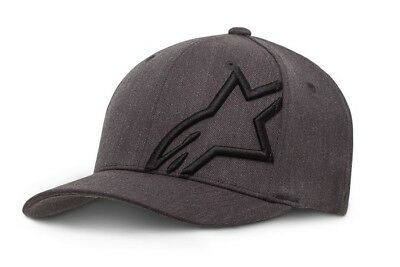 New Adult ALPINESTARS Flexfit Cap Corp Shift 2 Hat Grey Black Motocross S/M L/XL