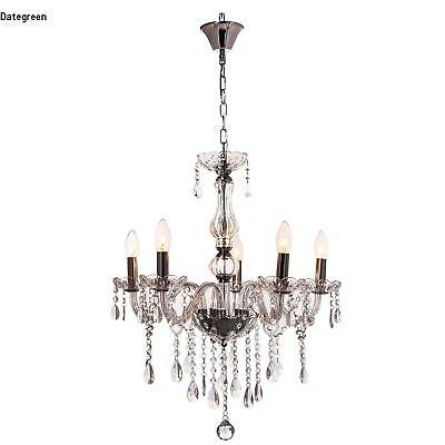 Modern Clear Crystal Chandelier Ceiling Light Droplets Pendant Lamp 5 Lights New