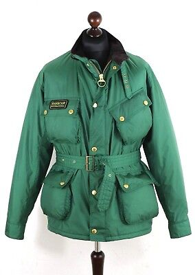 BARBOUR Men's International LIGHTNING GOLD Nylon Jacket Size XL - L Belted Green
