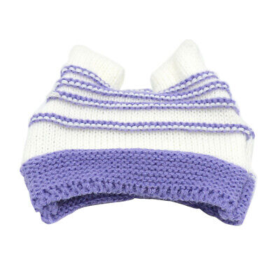 Stripe Knitted Hat Costume For 18inch Our Generation Doll Accessory Purple