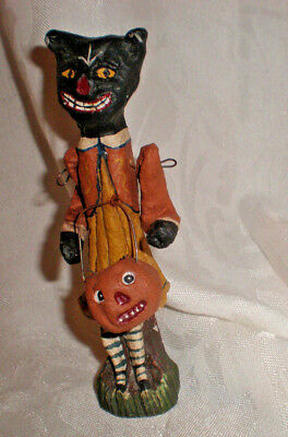 HALLOWEEN PoliWoggs Black Cat with Pumpkin on Arm American Folk Art 5""