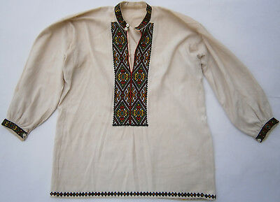 WESTERN UKRAINE Man's Shirt HUTSUL Style UKRAINIAN Folk ART Cloth EMBROIDERY