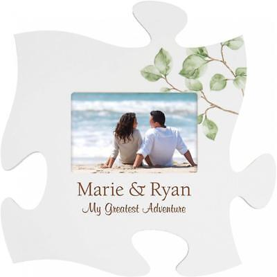 Personalized Laser Engraved Puzzle Piece Frame- Wedding/Anniversary Adventure
