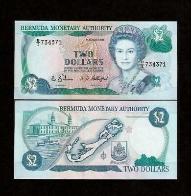 BERMUDA 2 Dollars KM34 1989 X 10 Pcs Lot QUEEN MAP BOAT HORSE UNC MONEY BANKNOTE