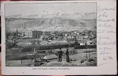 1906 Overview of the city of Rock Springs Wyoming WY postcard - nice image!