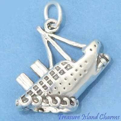 Titanic Sinking Ocean Liner Cruise Ship 3D 925 Sterling Silver Charm MADE IN USA